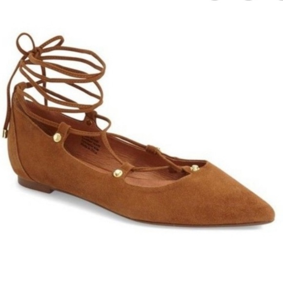 Halogen Tan Suede Pointy Flats